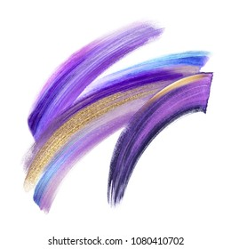 creative brush stroke clip art isolated on white background, dynamic watercolor smear, golden yellow violet purple blue paint texture, acrylics, grunge, gold glitter, shimmer, make up, cosmetics