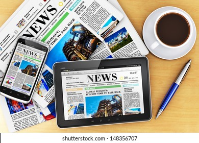 Creative business corporate work concept: tablet computer, touchscreen smartphone with news internet web site, stack of newspapers, cup or mug of fresh coffee and metal ballpoint pen on office table