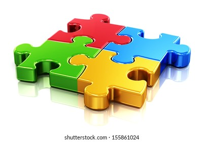 Creative business, office, teamwork, partnership and communication corporate concept: logo from four color red, blue, green and yellow puzzle jigsaw pieces isolated on white background