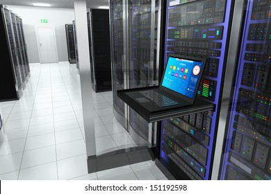 Creative business web telecommunication, internet technology connection, cloud computing and networking connectivity concept: terminal monitor in server room with server racks in datacenter interior