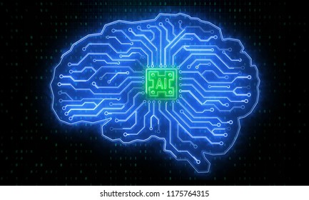 Creative circuit brain backdrop. Artificial intelligence and future concept. 3D Rendering