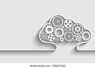 Creative cloud background with gears for your design