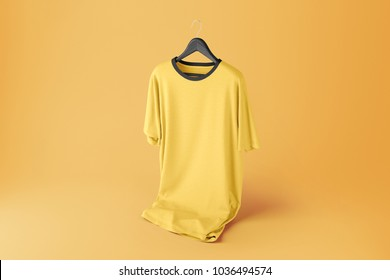 Creative color t-shirt Mockup with hanger on yellow background. 3D rendering