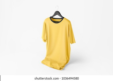 Creative color t-shirt Mockup with hanger on white isolated background. 3D rendering