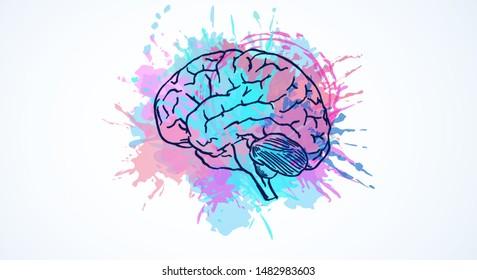 Creative colorful brain splash sketch on white background. Brainstorm and emotive concept. 3D Rendering
