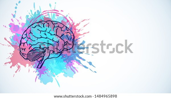 Creative colorful brain splash sketch on white background. Brainstorm and inspire concept. 3D Rendering