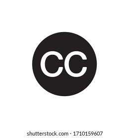 Creative commons icon. CC button. Line design.