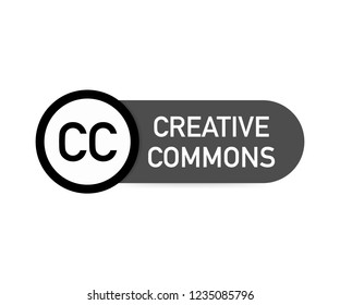 Creative commons rights management sign with circular CC icon.  stock illustration.