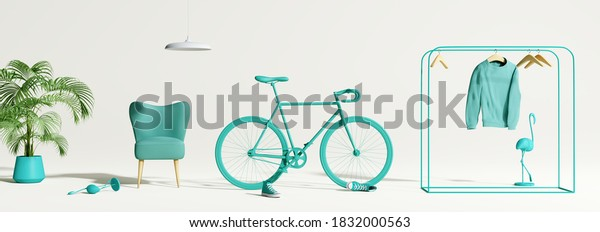 Creative composition. Abstract scene blue object on white background. interior concept. 3d rendering