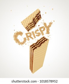 Creative Concept for Crispy wafer product, chocolate wafer flavor, with Clipping path 3d illustration.