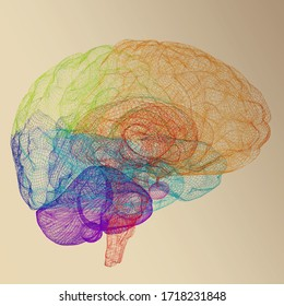 Creative concept of the human brain. 3d rendered on toned background
