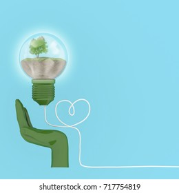 Creative concept : Light bulbs glowing with tree in hand, Environmental protection concept. minimal concept Idea. concept about energy and environment conservation of friendly.