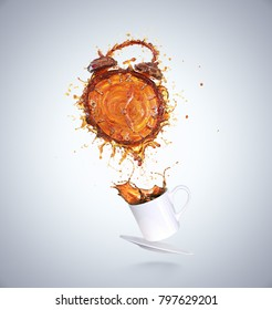 Creative Concept of Wake up for a good day, Splash of Coffee in form or Shape of Alarm clock, with White Cup include Clipping path 3d illustration.