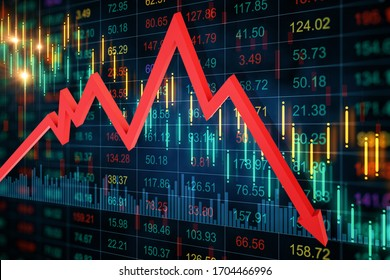 Creative crash recession chart with falling red arrow. Business and financial crisis concept. 3D Rendering