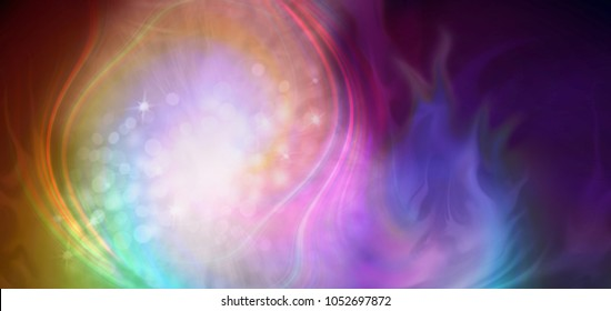 The Creative Dance of Energy - Gaseous dancing rotating rainbow coloured energy flow with bokeh sparkles in the center and darkness on right side providing copy space