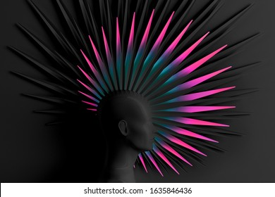 Creative dark background with three-dimensional head of a young woman in profile with stylized Mohawk hairstyle. 3D illustration