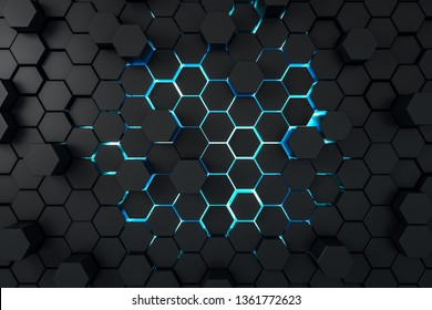 Creative dark hexagon wallpaper. Design and mosaic concept. 3D Rendering