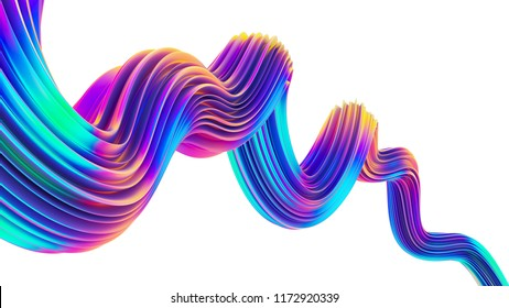 Creative design element in holographic colors for trendy design. Colorful neon 3D flow shape. Christmas background. 3D rendering.