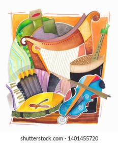 Creative design of musical instruments and Irish beer