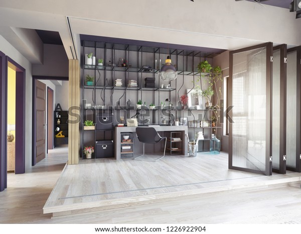 creative design of the partition zone of the home office interior. 3d design concept