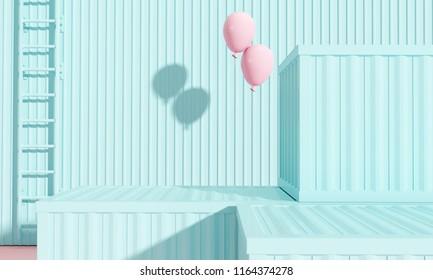 Creative design pastel color background. 3d rendering