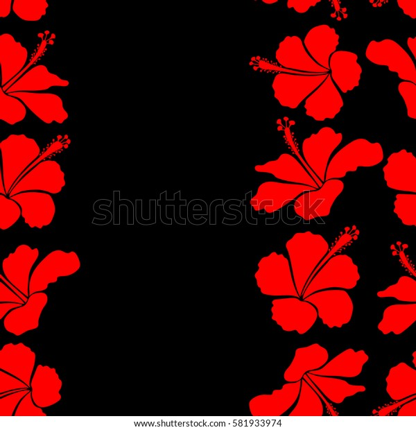 Creative design for poster, flyer, print. Aloha Hawaii, Luau Party invitation on a black background with hibiscus flowers in red colors and place for your text. Vertical aloha T-Shirt design.
