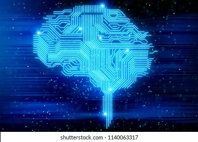 Creative digital brain background. Artifical intelligence and science concept. 3D Rendering