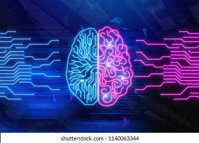Creative digital brain background. Artifical intelligence and technology concept. 3D Rendering