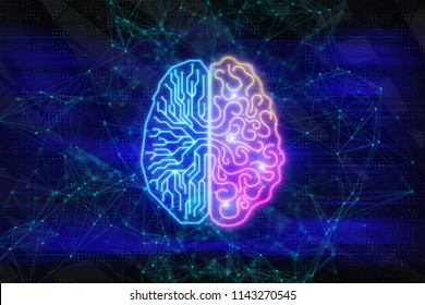 Creative digital brain background. Artifical intelligence and ai concept. 3D Rendering