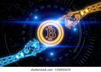 Creative digital hand holding glowing bitcoin background. Cryptocurrency and trade concept. 3D Rendering