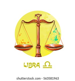 Creative digital illustration of astrological sign Libra. Seventh of twelve signs in zodiac. Horoscope air element. Logo sign with scales. Graphic design clip art for web and print. Add any text