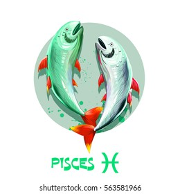 Creative digital illustration of astrological sign Pisces. Twelfth of twelve signs in zodiac. Horoscope water element. Logo sign with fish. Graphic design clip art for web and print. Add any text