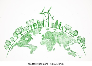 Creative eco globe sketch on white background. Eco-friendly and green concept