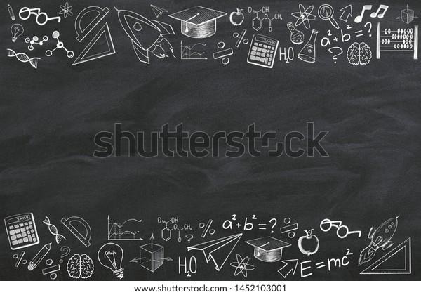 Dessin éducatif créatif sur fond noir avec place pour copie. Le concept d'éducation et de savoir. Rendu 3D