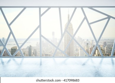 Creative empty interior with abstract panoramic windows and New York city view. 3D Rendering