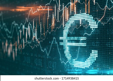 Creative euro icon with glowing stock chart on dark wallpaper. Cryptocurrency and money concept. 3D Rendering