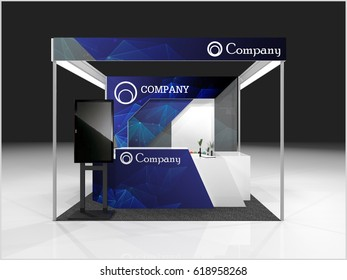 Creative exhibition stand design. Booth template. 3d rander