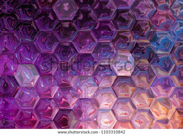 Creative faded hexagons pattern background. Abstract oil painting texture. Good for any printed production, print on fabric, clothes and ceramic. Template for design products decoration.