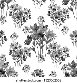 Creative floral seamless pattern with watercolor spring delicate flowers. Hand drawn. Surface design.