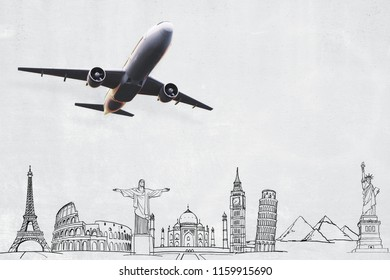 Creative flying airplane with travel sketch. Transporation and vacation concept. 3D Rendering