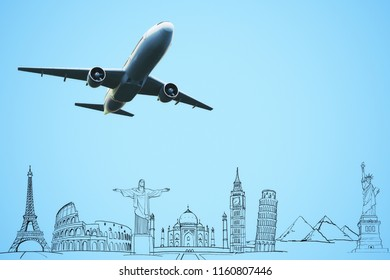 Creative flying airplane with travel sketch. Transporation and trip concept. 3D Rendering