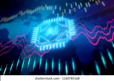 Creative forex chart background with ai chip. Artificial intelligence and finance concept. 3D Rendering