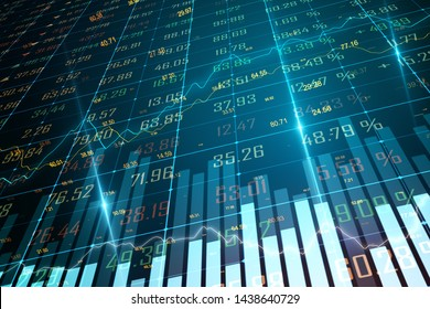 Creative forex chart background. Economy and trade concept. 3D Rendering