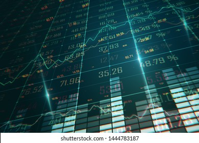 Creative forex chart background. Finance and stats concept. 3D Rendering
