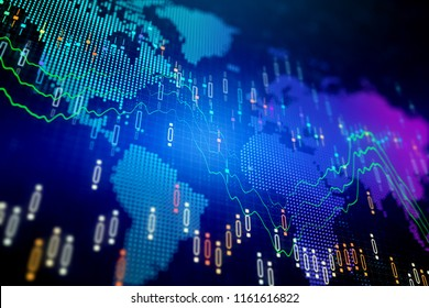 Creative forex chart background with map. Global business and finance concept. 3D Rendering