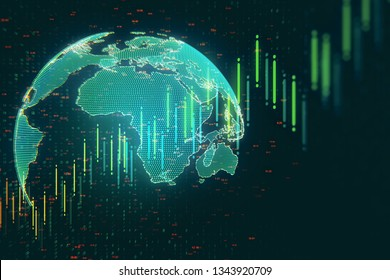 Creative forex chart with globe on dark background. Global trade and invest concept. 3D Rendering