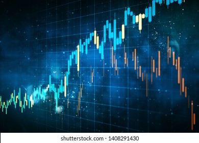 Creative forex chart grid sketch on blurry blue background. Invest and trade concept. 3D Rendering