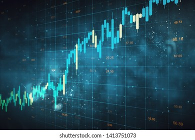 Creative forex chart grid sketch on blurry blue background. Invest and candlestick concept. 3D Rendering