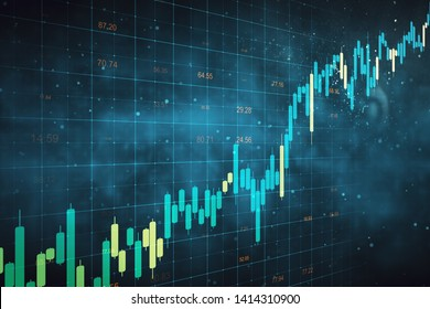 Creative forex chart grid sketch on blurry blue background. Stats and trade concept. 3D Rendering