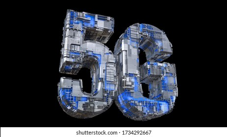 Creative glowing 5G letters backdrop. Modern wireless technology concept. New fifth generation mobile networks and internet text image. Isolated on black background. 3D rendering